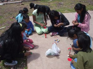 Girls doing the Christmas craft