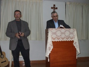 Bro. Jim preaching and Bro. Stanton translating