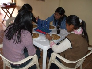 youth eating chifa (chinese food)
