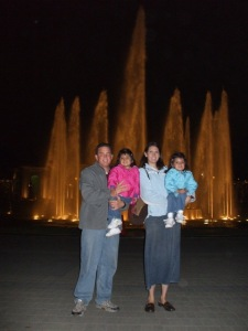 fountain shooting up behind us 80 meters