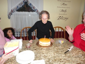 Grandma Richardson blowing out her candles